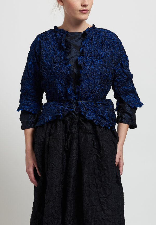 Daniela Gregis Washed Silk Ruched Jacket in Electric Blue