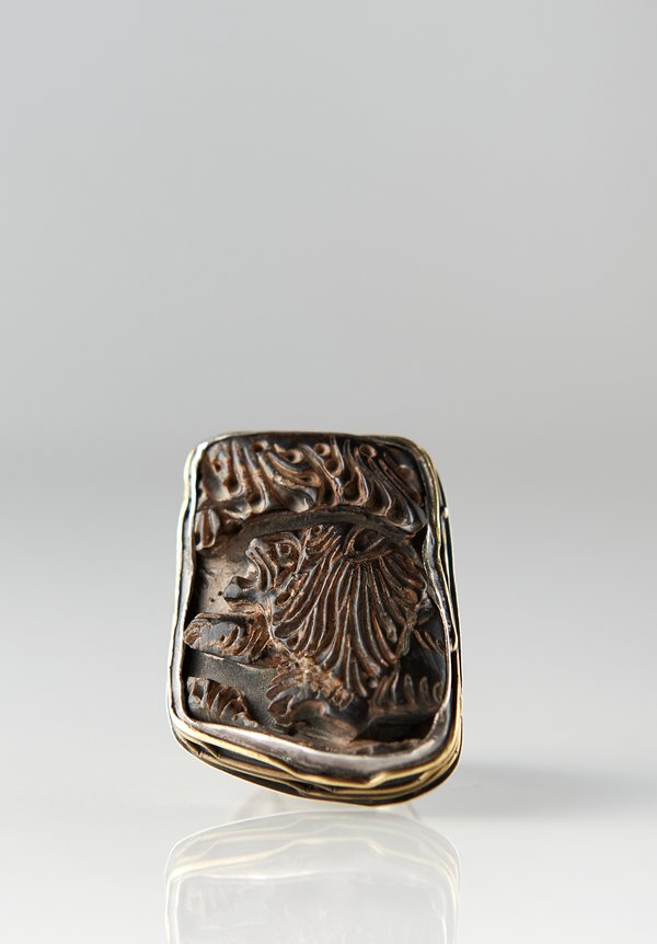 Pamela Adger Carved Horn, Lion Motif Ring