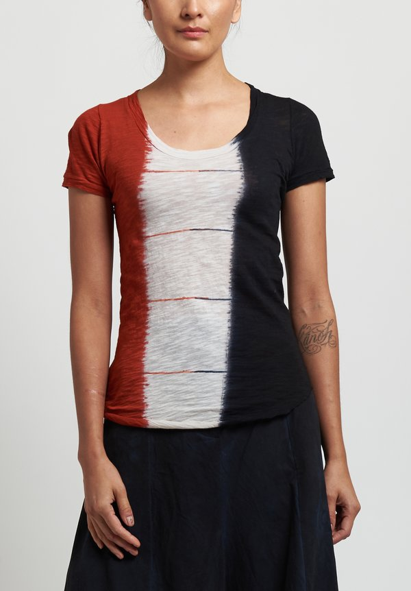 Gilda Midani Round Tee in Dripped Black/ Urucum