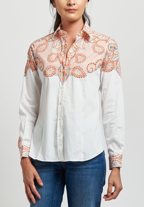 Etro Cotton Western Print Shirt in White