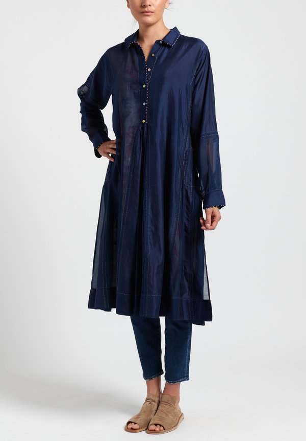 Péro Cotton/ Silk Button Front Dress in Navy