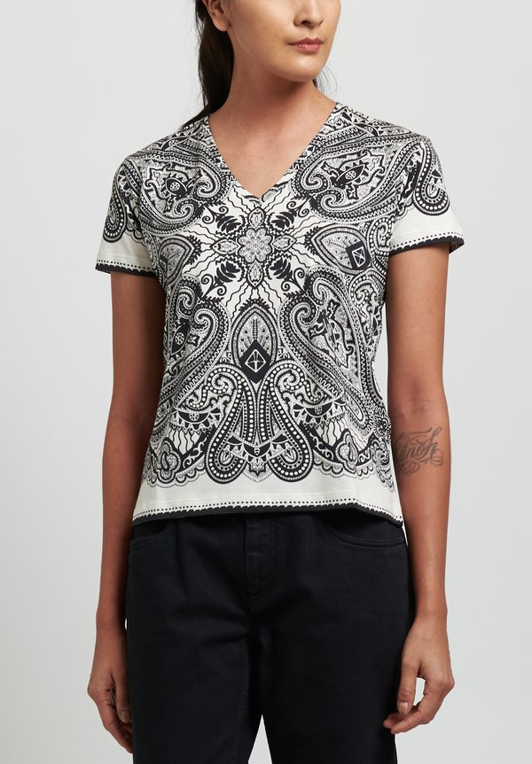 Etro Cotton Printed V-Neck T-Shirt in Black