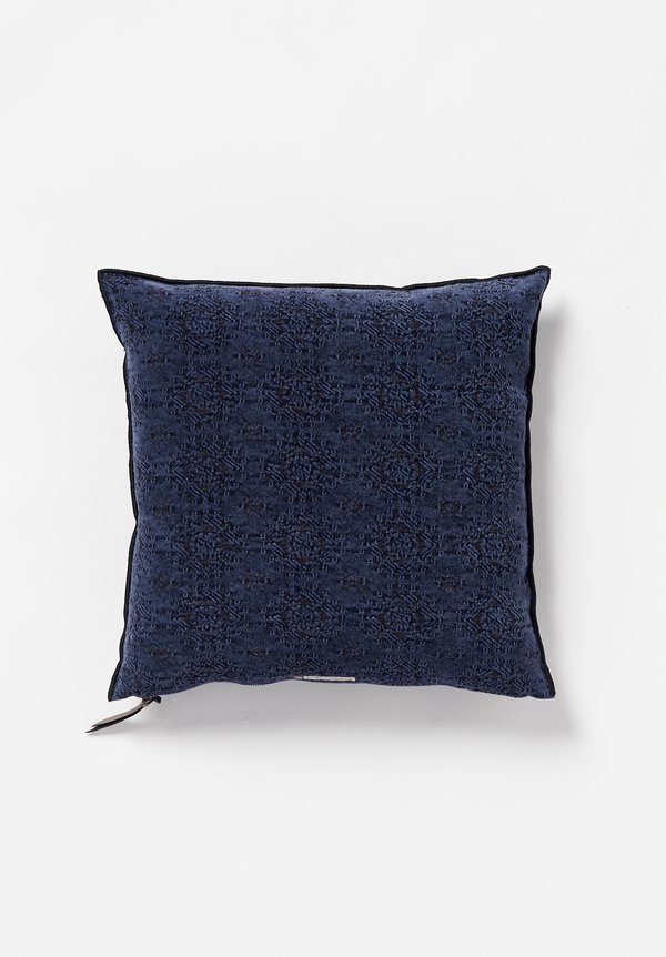 Maison de Vacances Square, Stone Washed Jacquard Pillow in Kilim Bleu Nuit