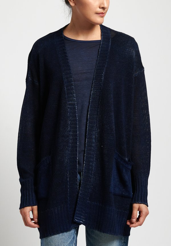 Avant Toi Linen Relaxed Cardigan in Nero/ Denim