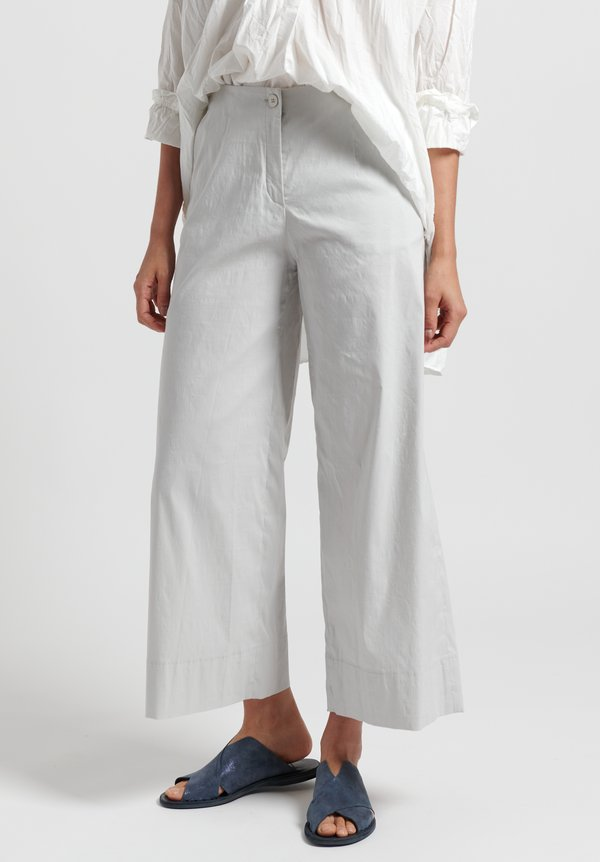 Peter O. Mahler Stretch Linen Wide Leg Pants in Shell