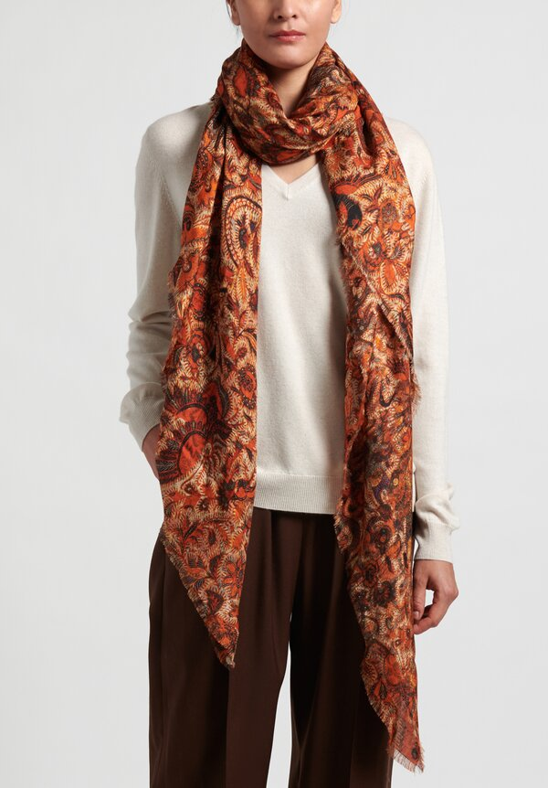 Alonpi Printed Scarf in Orange