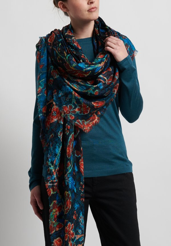 Alonpi Cashmere/ Silk Printed Scarf Dragon Blue
