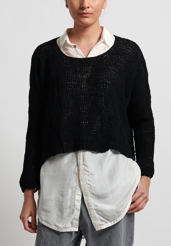 Umit Unal Cotton Handknit Loose Crop Sweater in Black