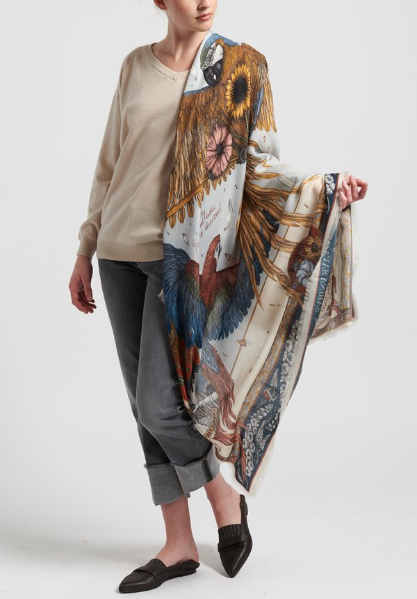 Sabina Savage Cashmere The Princely Parrots Scarf in Delphinium/Ruby