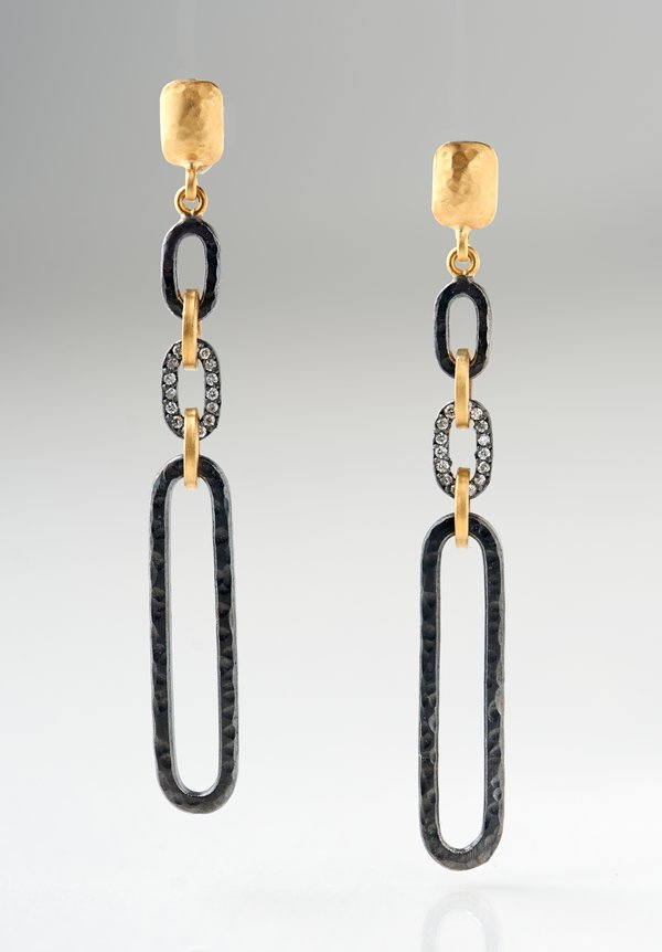 Lika Behar 22K, Ox. Silver Chill Link Earrings