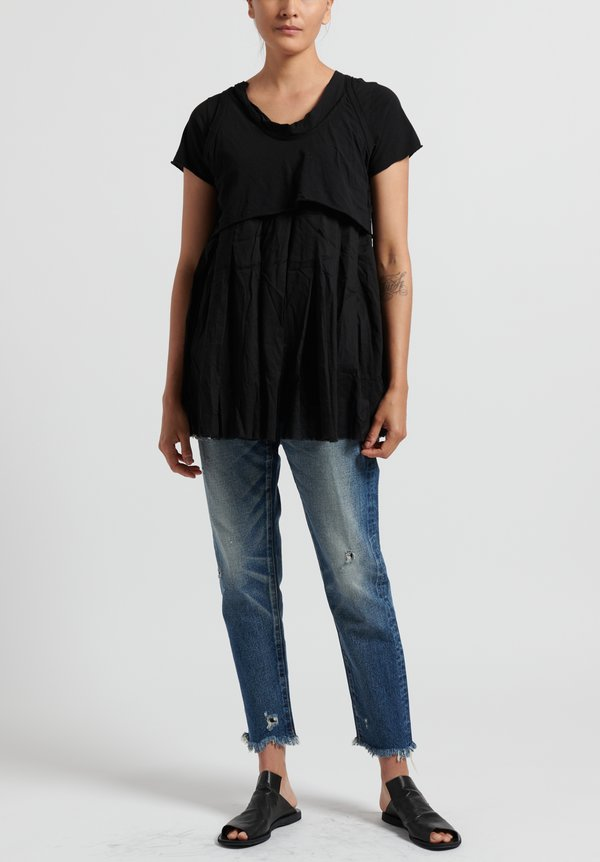 Rundholz Dip Cotton Layered Top in Black