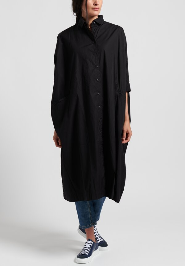 Casey Casey Cotton Oversized Atom Shirt Dress in Black