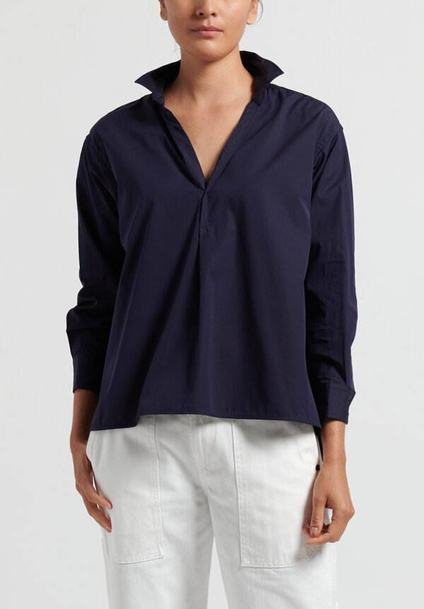 Ticca Simple Cotton Shirt in Navy