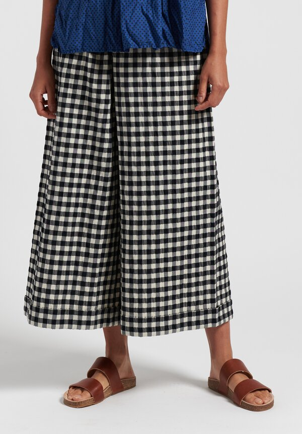 Daniela Gregis Cotton Wide Leg Check Pants in White/ Black