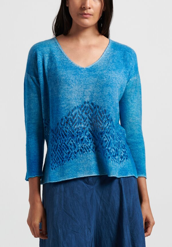 f Cashmere V Neck Swing Sweater in Blue