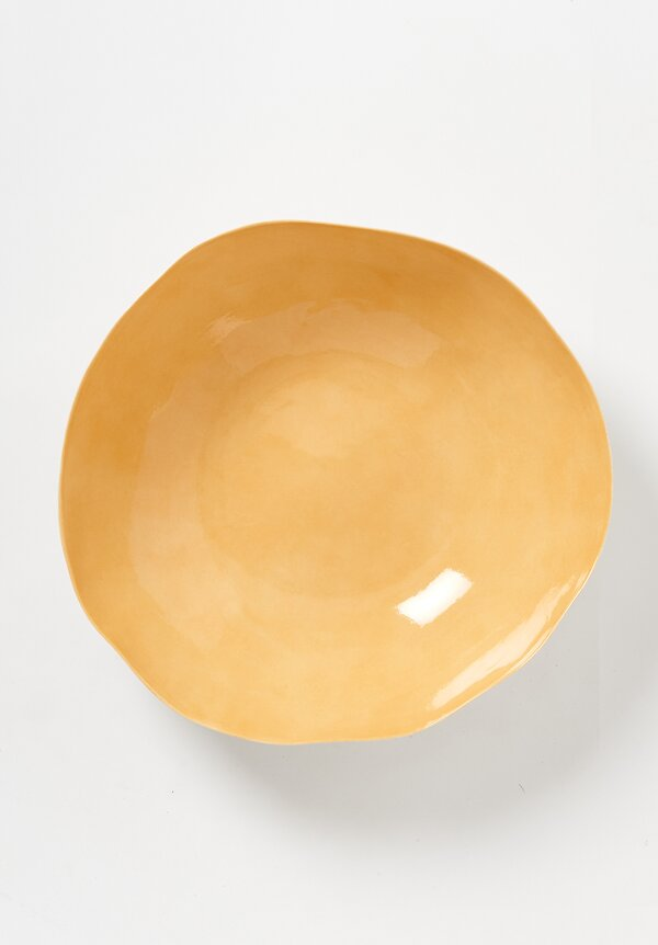 Bertozzi Handmade Porcelain Solid Interior Large Serving Bowl in Saffron