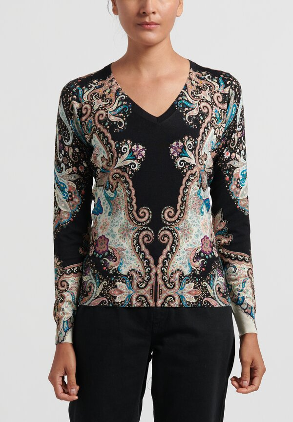 Etro V-Neck Paisley Sweater in Black