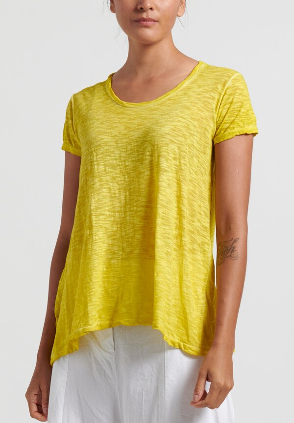 Gilda Midani Solid Dyed Short Sleeve Monoprix Tee in Yellow