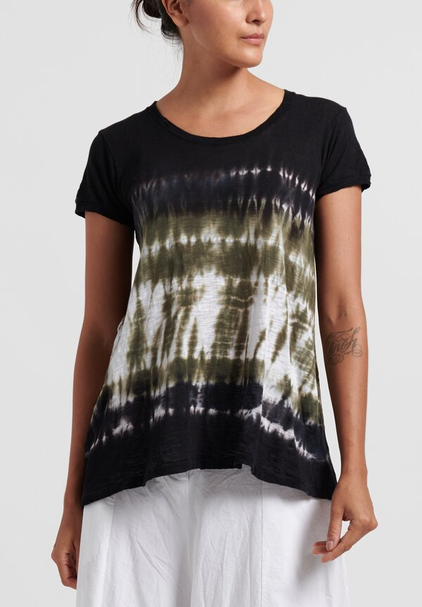 Gilda Midani Pattern Dyed Short Sleeve Monoprix Tee in Green Row