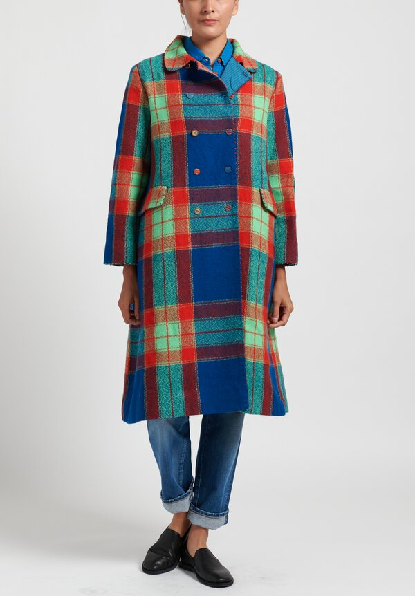 Pero Wool Double Breasted Plaid Coat in Blue/ Green/ Red