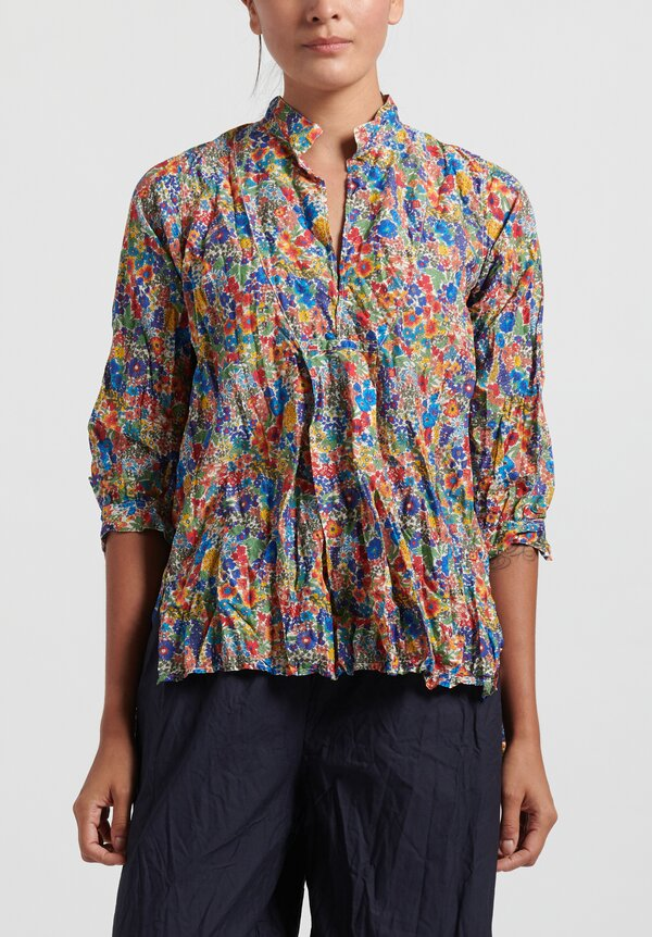 Daniela Gregis Washed Cotton Chicory Printed Kora Top in Electric Blue/ Red/ Orange Flowers