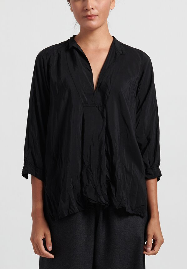 Daniela Gregis Washed Silk Long Kora Top in Black