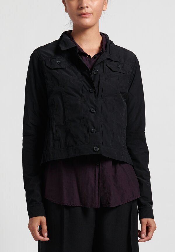 Rundholz Black Label Lightweight Point Collar Jacket in Black