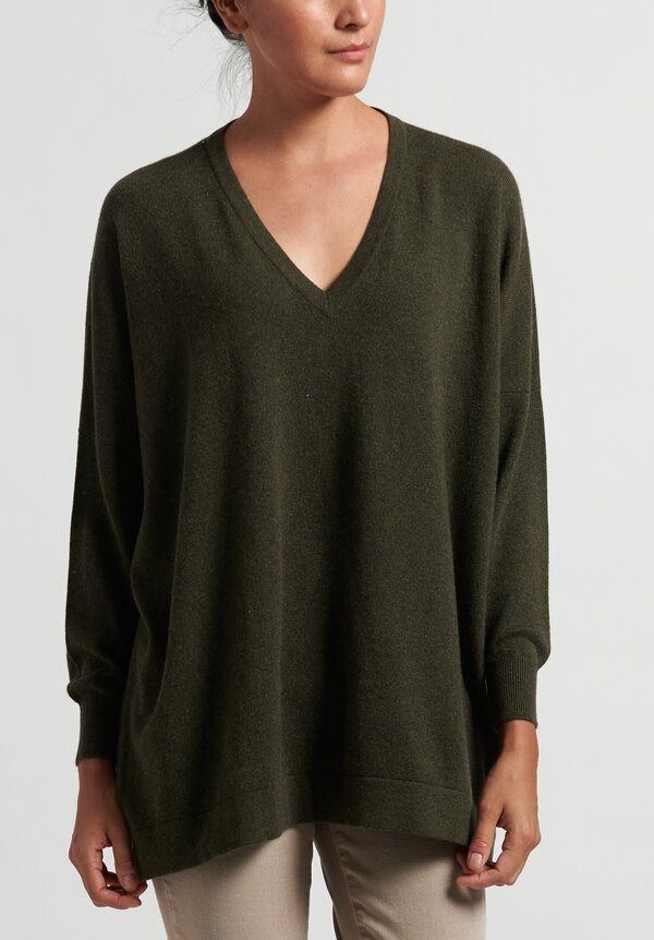Hania New York Marley Cashmere V-Neck Sweater in Green