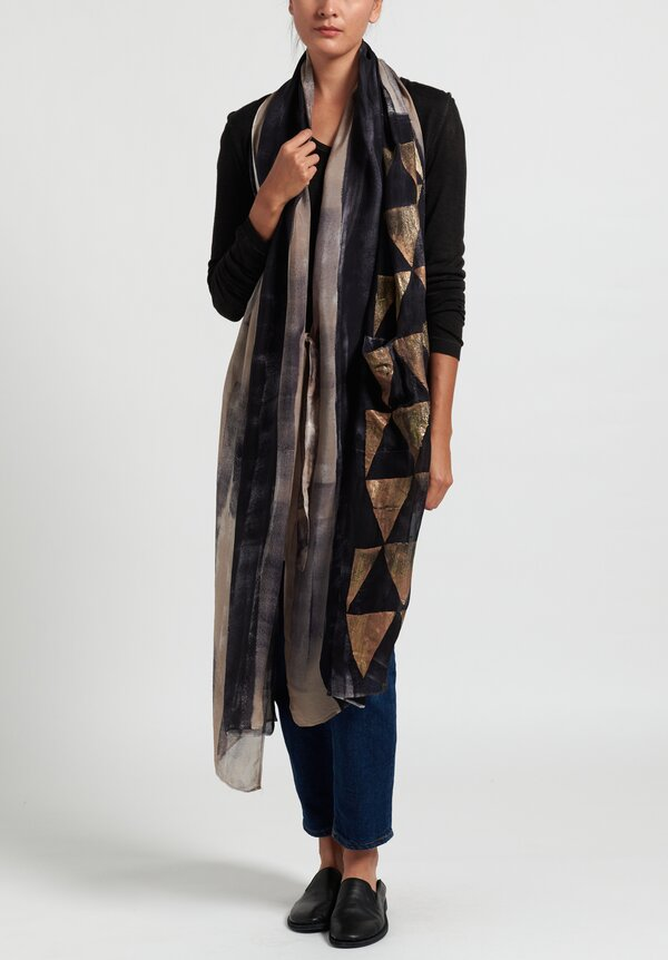Masnada Plus Diagonal Scarf in Taupe/ Black/ Gold