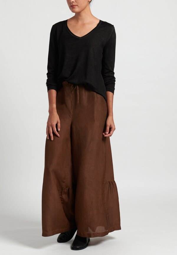 Masnada Plus Gathered Wide Leg Pants in Copper