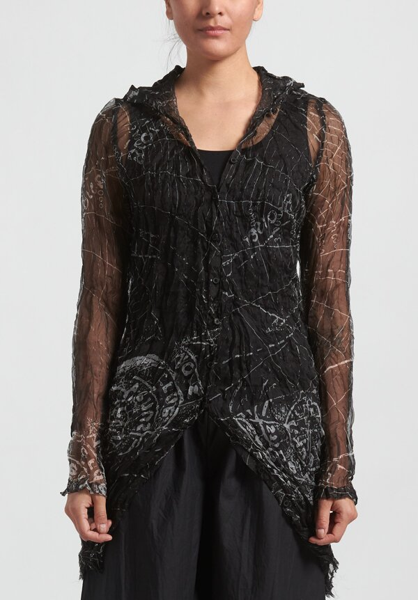 Rundholz Printed Button Up Tunic in Black