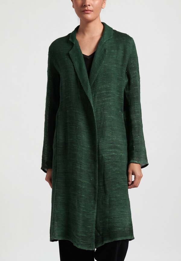 Avant Toi Long Mesh Duster in Jungle Green