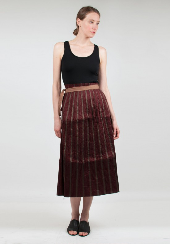 Uma Wang Stretch Linen Tie Skirt in Red/Tan