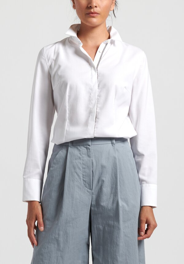 Brunello Cucinelli Embellished Blouse in White
