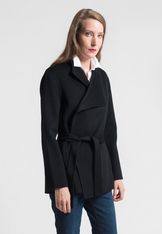 Pauw Cashmere Short Belted Jacket in Black