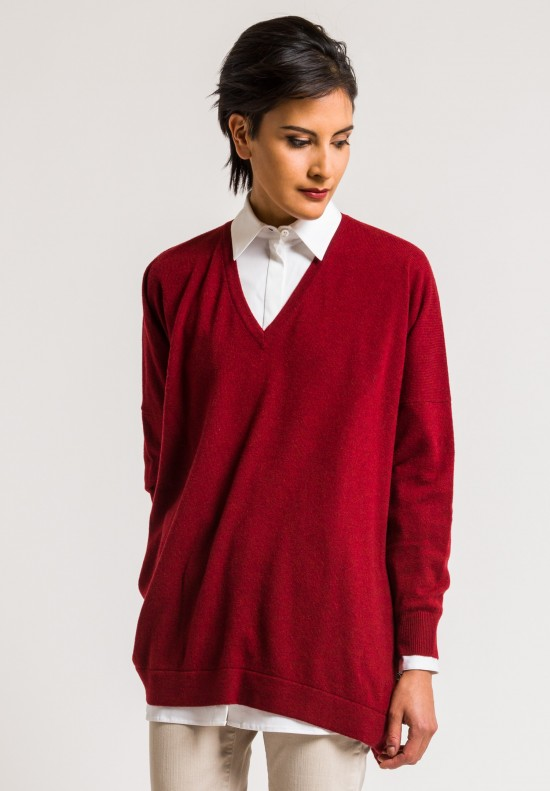 Hania by Anya Cole Marley V-Neck Red Cashmere Sweater