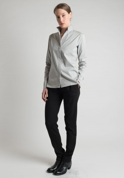 Lareida Long Sleeve Open Collar Shirt in Light Grey