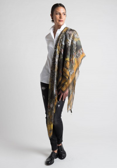 Sabina Savage Karo Sheer Scarf in Gold & Charcoal