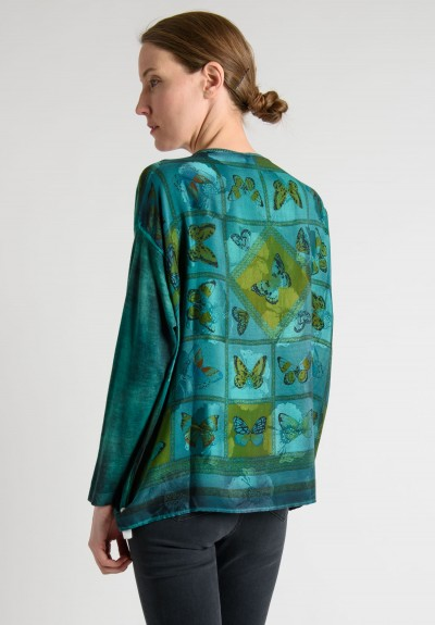 Avant Toi Cashmere Sweater with Silk Back in Emerald