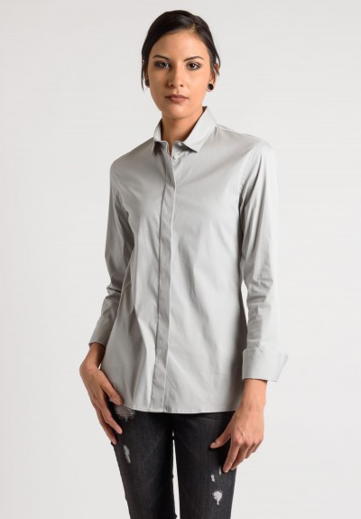 Lareida Long Sleeve Placket Shirt in Grey