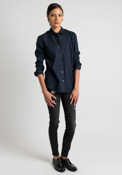 Lareida Long Sleeve Button-Down Shirt in Dark Navy