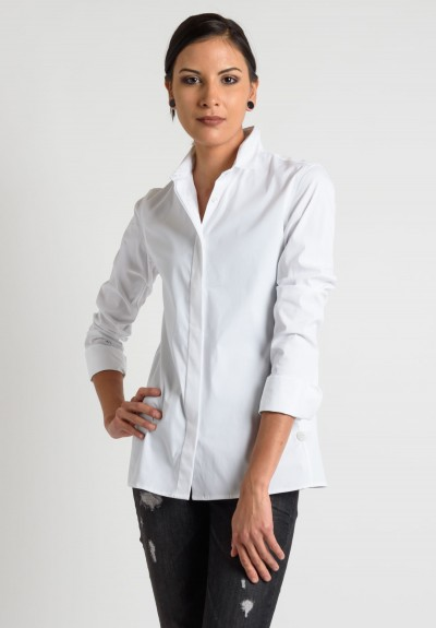 Lareida Long Sleeve Placket Shirt in White