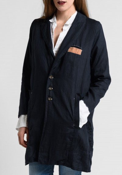 Umit Unal Long Linen Jacket in Dark Navy