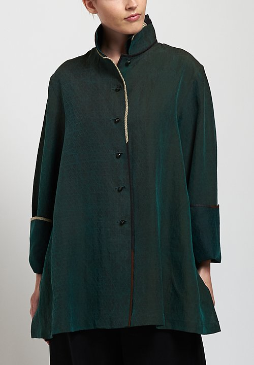 Sophie Hong Silk Double Collar Top in Green