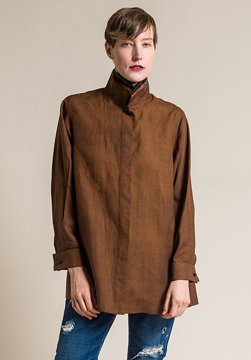 Sophie Hong Silk Placket Top in Brown
