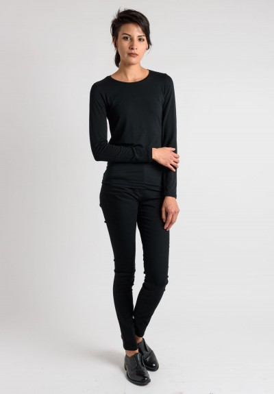 Majestic Crew Neck Top in Black