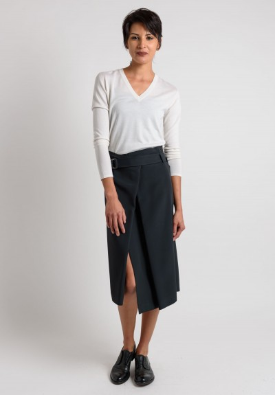 Brunello Cucinelli Belted Slit Skirt in Dark Navy