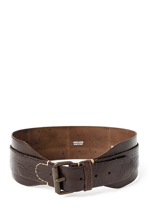 Riccardo Forconi Double Layer Belt in Dark Brown