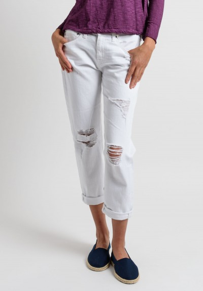 AG Cropped Ex-Boyfriend Jeans in White