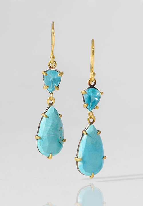 Margery Hirschey Turquoise & Apatite Earrings